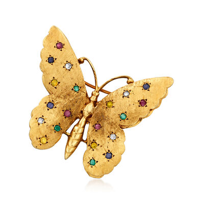 C. 1970 Vintage .60 ct. t.w. Multi-Gemstone and .10 ct. t.w. Diamond Butterfly Pin in 14kt Yellow Gold