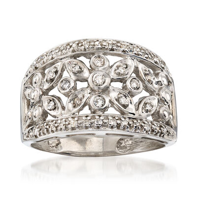 C. 1990 Vintage .25 ct. t.w. Diamond Floral Ring in 14kt White Gold
