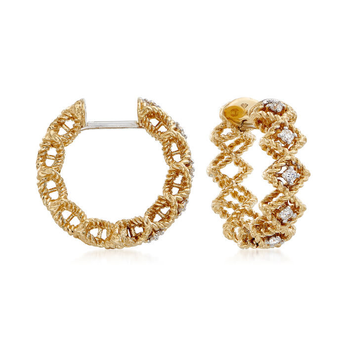 "Roberto Coin ""Barocco"" Diamond Hoop Earrings in 18kt Yellow Gold. 5/8"", , default"