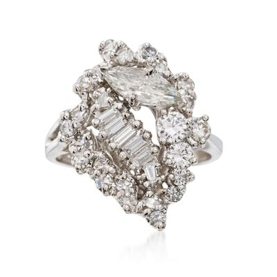 C. 1990 Vintage 1.50 ct. t.w. Multi-Cut Diamond Cluster Ring in 14kt White Gold, , default
