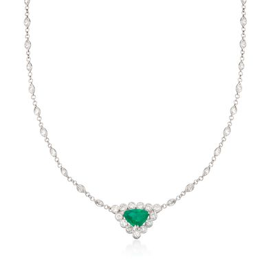 C. 1990 Vintage 1.80 Carat Emerald and 5.15 ct. t.w. Diamond Necklace in Platinum, , default