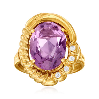 C. 1990 Vintage 5.00 Carat Amethyst Ring in 14kt Yellow Gold, , default