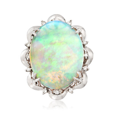 C. 1960 Vintage Opal Cabochon and .27 ct. t.w. Diamond Scallop Ring in Platinum, , default