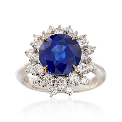 C. 1990 Vintage 4.15 Carat Sapphire and 1.55 ct. t.w. Diamond Ring in 18kt White Gold