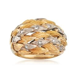 C. 1970 Vintage .25 ct. t.w. Diamond Leaves Ring in 10kt Two-Tone Gold, , default