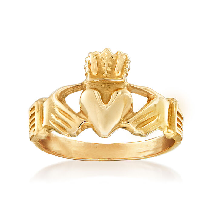 C. 1980 Vintage 14kt Yellow Gold Claddagh Ring. Size 8.75, , default