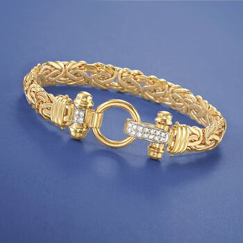 "14-Karat Yellow Gold Byzantine Bracelet With .27 Carat Total Weight Diamond Clasp. 8"", , default"