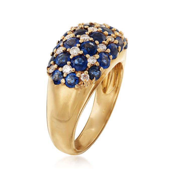 C. 1990 Vintage 2.80 ct. t.w. Sapphire and .32 ct. t.w. Diamond Multi-Row Ring in 18kt Yellow Gold