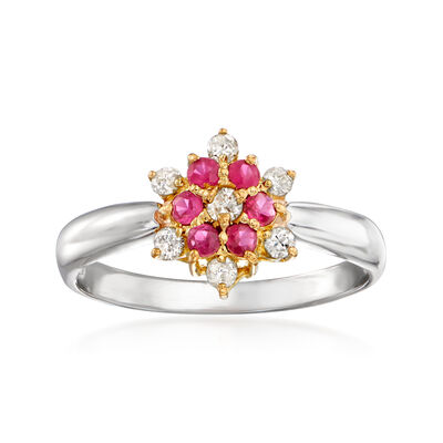 C. 1990 Vintage .24 ct. t.w. Ruby and .16 ct. t.w. Diamond Snowflake Ring in Platinum and 18kt Yellow Gold