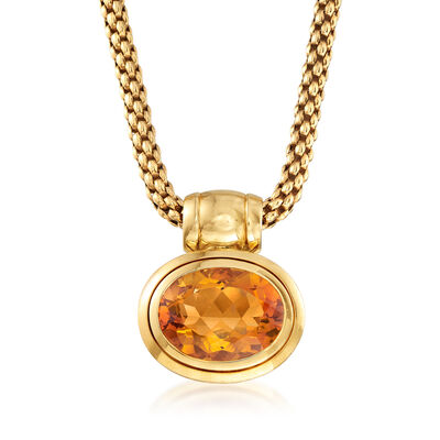 C. 1990 Vintage 16.50 Carat Citrine Pendant Necklace in 18kt Yellow Gold, , default