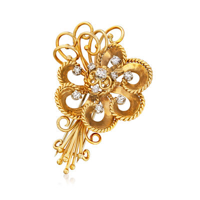 C. 1960 Vintage 1.05 ct. t.w. Diamond Flower Bouquet Pin in 18kt Yellow Gold