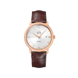 Omega De Ville Prestige Men's 39.5mm 18kt Rose Gold Watch With Brown Leather Strap, , default