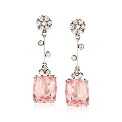 C. 2000 Vintage 11.00 ct. t.w. Morganite and .70 ct. t.w. Diamond Drop Earrings in 14kt White Gold, , default