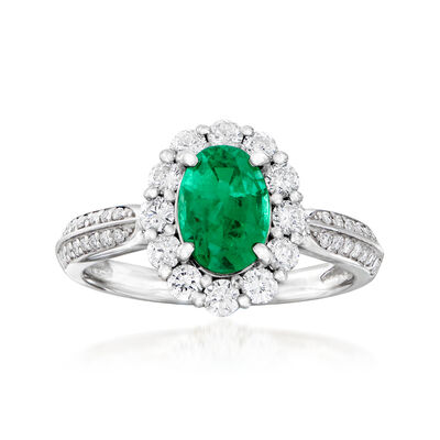 C. 1990 Vintage 1.26 Carat Emerald and .63 ct. t.w. Diamond Ring in Platinum, , default