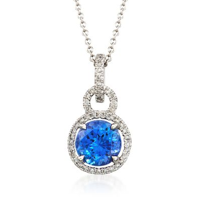 C. 2014 Simon G. 1.65 Carat Tanzanite and .22 ct. t.w. Diamond Pendant Necklace in 18kt White Gold, , default