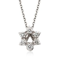 "Roberto Coin ""Tiny Treasures"" Diamond Accent Star of David Necklace in 18kt White Gold, , default"