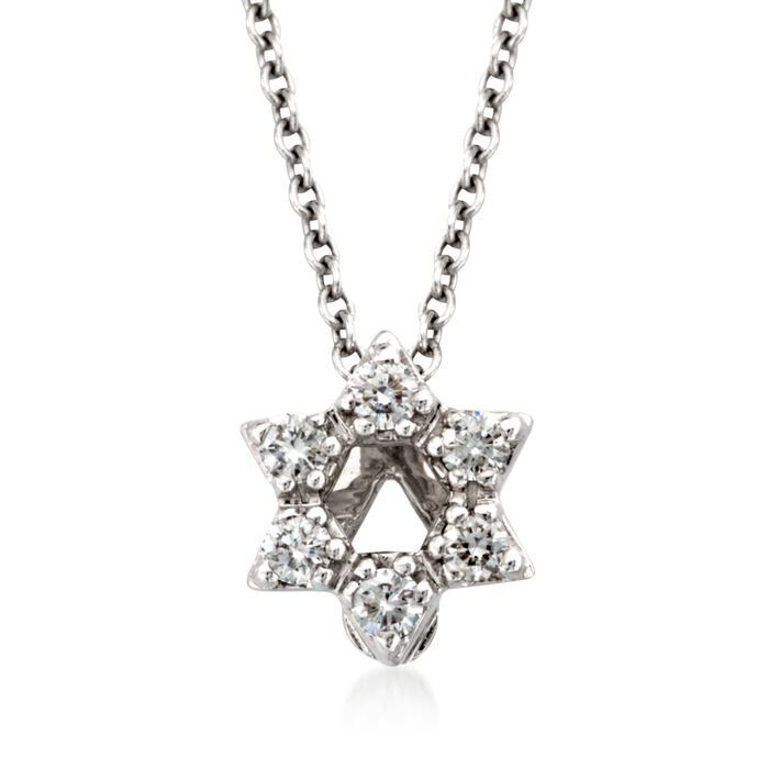 Roberto Coin Tiny Treasures Diamond Accent Star of David Necklace in 18-Karat White Gold, , default