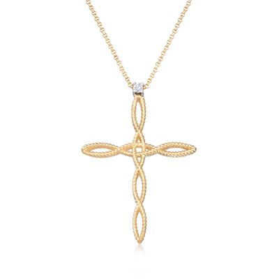 "Roberto Coin ""Barocco"" 18kt Yellow Gold Braided Cross Pendant Necklace with Diamond Accent"