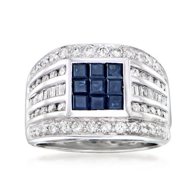 C. 1990 Vintage .89 ct. t.w. Sapphire and .91 ct. t.w. Diamond Ring in 18kt White Gold