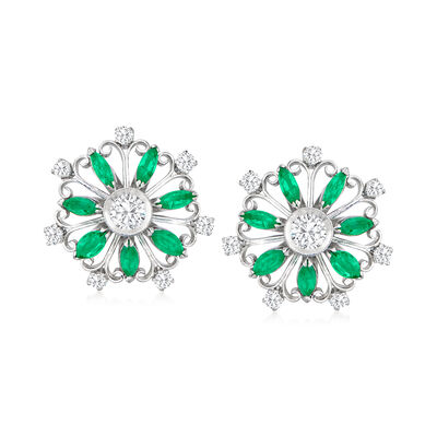 C. 1970 Vintage 1.00 ct. t.w. Emerald and .90 ct. t.w. Diamond Flower Earrings in Platinum