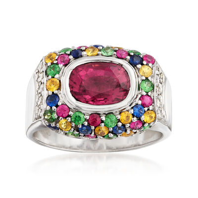 C. 1990 Vintage Sonia B 4.00 ct. t.w. Multi-Gemstone and .30 ct. t.w. Diamond Ring in 18kt White Gold, , default
