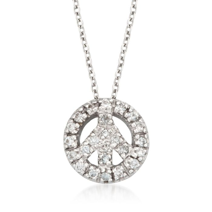 """Roberto Coin """"Tiny Treasures"""" .11 ct. t.w. Peace Sign Diamond Necklace in 18kt White Gold"""