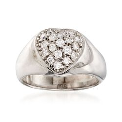 C. 1970 Vintage .45 ct. t.w. Diamond Heart Ring in 14kt White Gold, , default