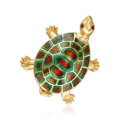 C. 1970 Vintage 18kt Yellow Gold and Enamel Turtle Pin, , default