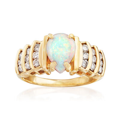 C. 1970 Vintage Opal and .65 ct. t.w. Diamond Ring in 14kt Yellow Gold, , default