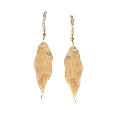 Simon G. .20 ct. t.w. Diamond Leaf Drop Earrings in 18kt Yellow Gold