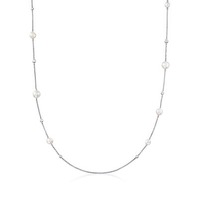 "Mikimoto ""Japan"" 5.5-7.5mm A+ Akoya Pearl and .48 ct. t.w. Diamond Station Necklace in 18kt White Gold"