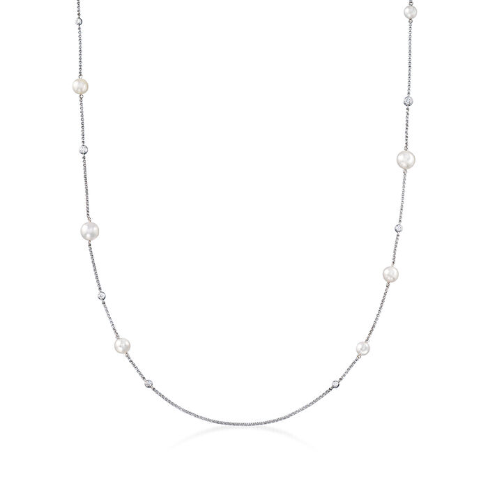 """Mikimoto """"Japan"""" 5.5-7.5mm A+ Akoya Pearl and .48 ct. t.w. Diamond Station Necklace in 18kt White Gold"""