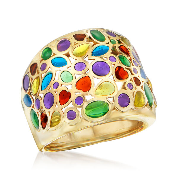 Italian Multicolored Enamel Dome Ring in 14kt Yellow Gold. #916870