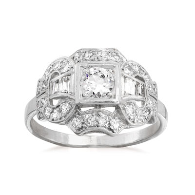 C. 1950 Vintage .85 ct. t.w. Diamond Ring in Platinum, , default