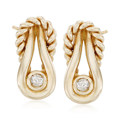 "Phillip Gavriel ""Italian Cable"" 14kt Yellow Gold Earrings with Diamond Accents, , default"