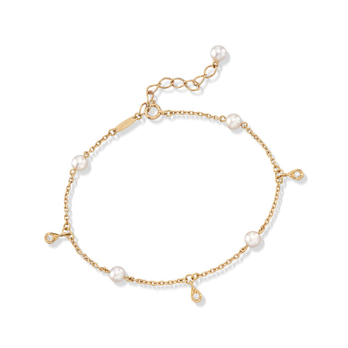 "Mikimoto 4.5mm A+ Akoya Pearl Station Bracelet with Diamond Accents in 18kt Yellow Gold. 7"", , default"