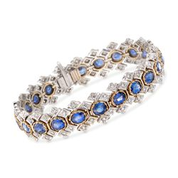 C. 1980 Vintage 14.30 ct. t.w. Sapphire and 2.50 ct. t.w. Diamond Bracelet in 18kt Two-Tone Gold, , default