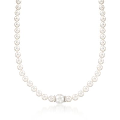 "Mikimoto ""Everyday Essentials"" 7-7.5mm A+ Akoya and 11mm South Sea Pearl Necklace with Diamonds in 18kt White Gold"