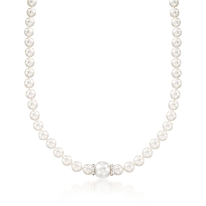 """Mikimoto Everyday Essentials 7-7.5mm A+ Akoya and 11mm South Sea Pearl Necklace with .40 Carat Total Weight Diamonds in 18-Karat White Gold. 18"""", , default"""