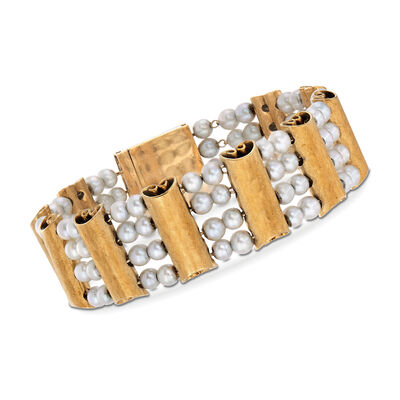 C. 1970 Vintage Luciene Piccard 4mm Cultured Pearl and 14kt Yellow Gold Scroll Bracelet, , default
