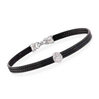 "ALOR ""Classique"" Diamond Station Black Cable Bracelet with 18kt White Gold, , default"
