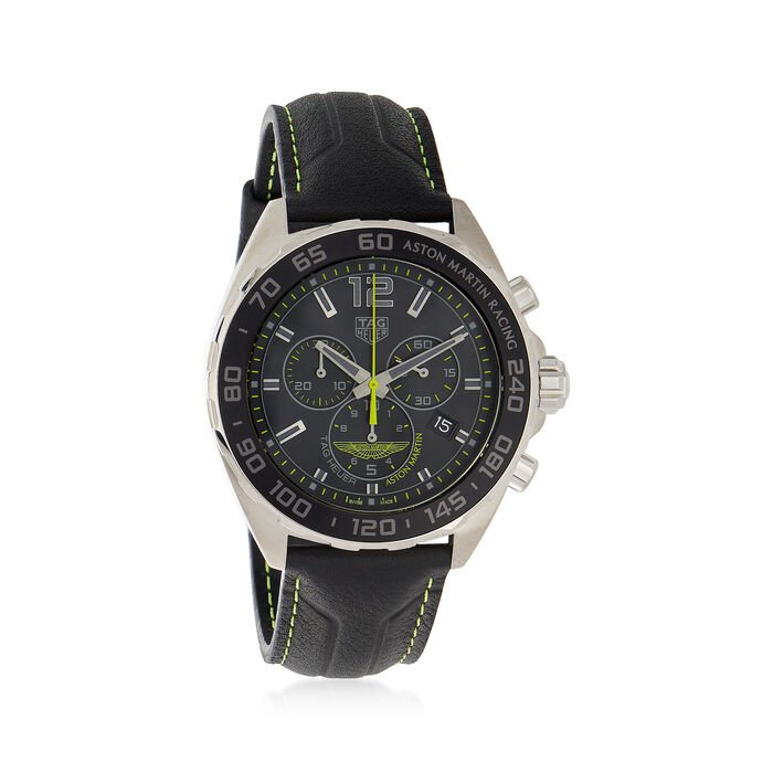 TAG Heuer Formula 1 Aston Martin Limited Edition Men's 43mm Chronograph Watch with Black Leather, , default