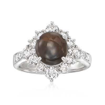 C. 1990 Vintage 3.76 ct. t.w. Gray Chrysoberyl Ring with 1.03 ct. t.w. Diamonds in Platinum