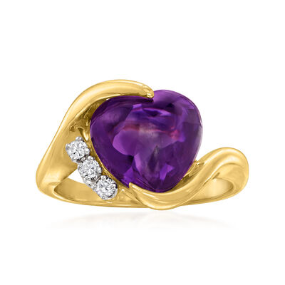C. 1990 Vintage 6.50 Carat Amethyst Heart Ring with .10 ct. t.w. Diamonds in 14kt Yellow Gold