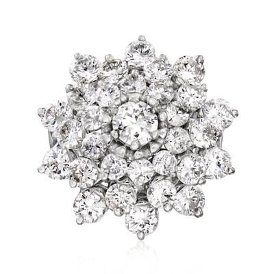 C. 1980 Vintage 5.00 ct. t.w. Diamond Cluster Ring in 14kt White Gold