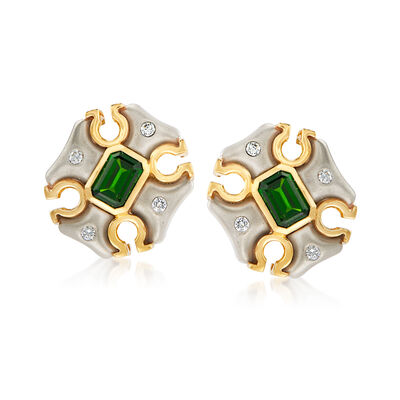 C. 1980 Vintage 2.20 ct. t.w. Peridot and .25 ct. t.w. Diamond Earrings in Platinum and 18kt Yellow Gold