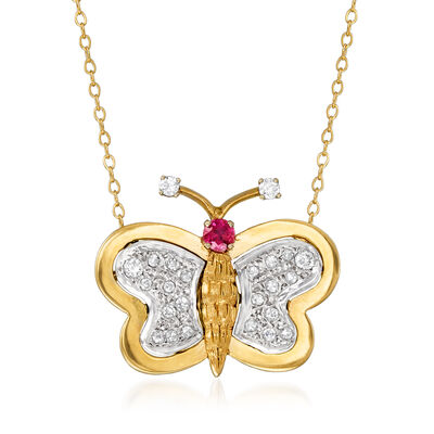 C. 1980 Vintage .50 ct. t.w. Diamond and .20 Carat Ruby Butterfly Pendant Necklace in 14kt Yellow Gold, , default