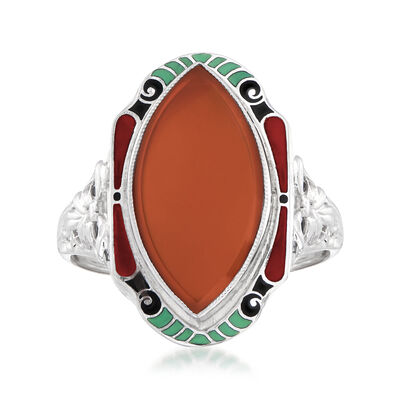 C. 1950 Vintage Carnelian Ring with Multicolored Enamel in 14kt Two-Tone Gold