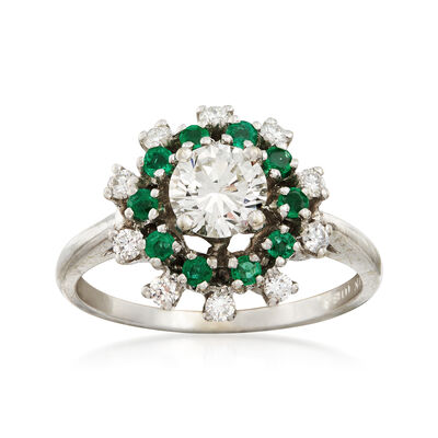 C. 1990 Vintage .85 ct. t.w. Diamond and .30 ct. t.w. Emerald Ring in 14kt White Gold, , default