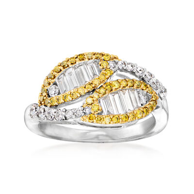 C. 1990 Vintage 1.25 ct. t.w. Yellow and White Diamond Bypass Ring in 14kt White Gold